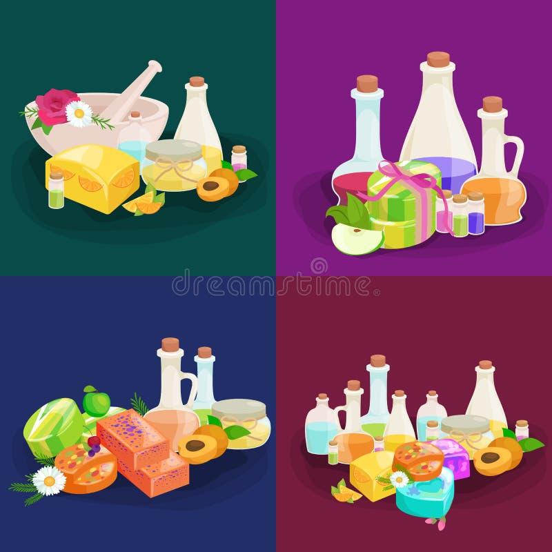 Flessen met organische essentiële van de aromaolie en zeep barreeks vector illustratie