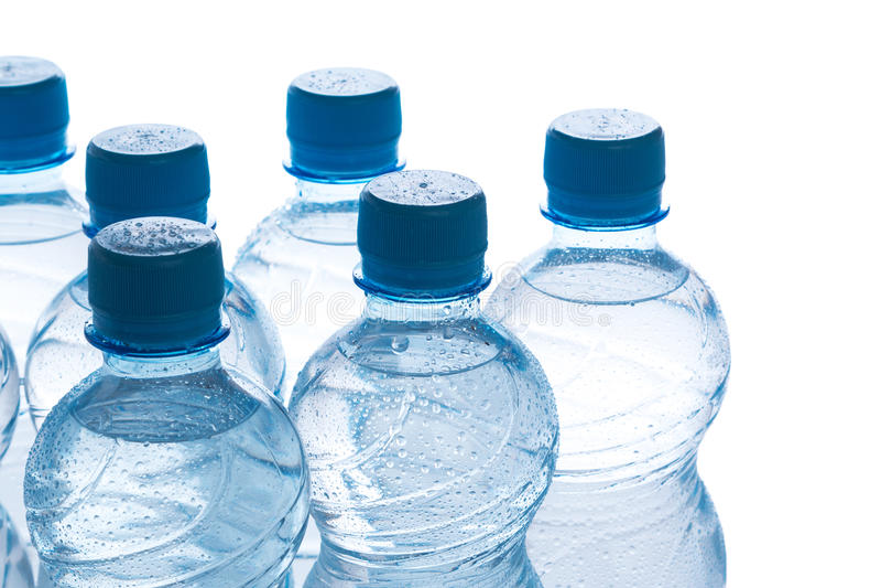 Flessen met water royalty-vrije stock foto's