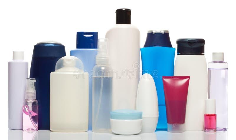 Flessen van gezondheid en schoonheidsproducten stock afbeelding