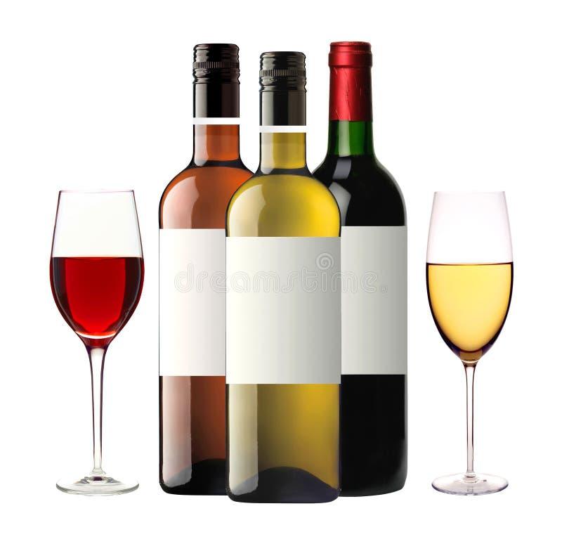 Flessen van rode, roze en witte geïsoleerde wijn en wijnglazen royalty-vrije stock afbeelding