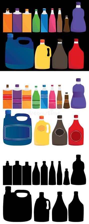 Flessen vastgestelde kleur stock illustratie