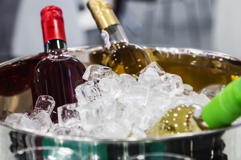 Flessen wijn in het ijs bij het proeven royalty-vrije stock afbeelding