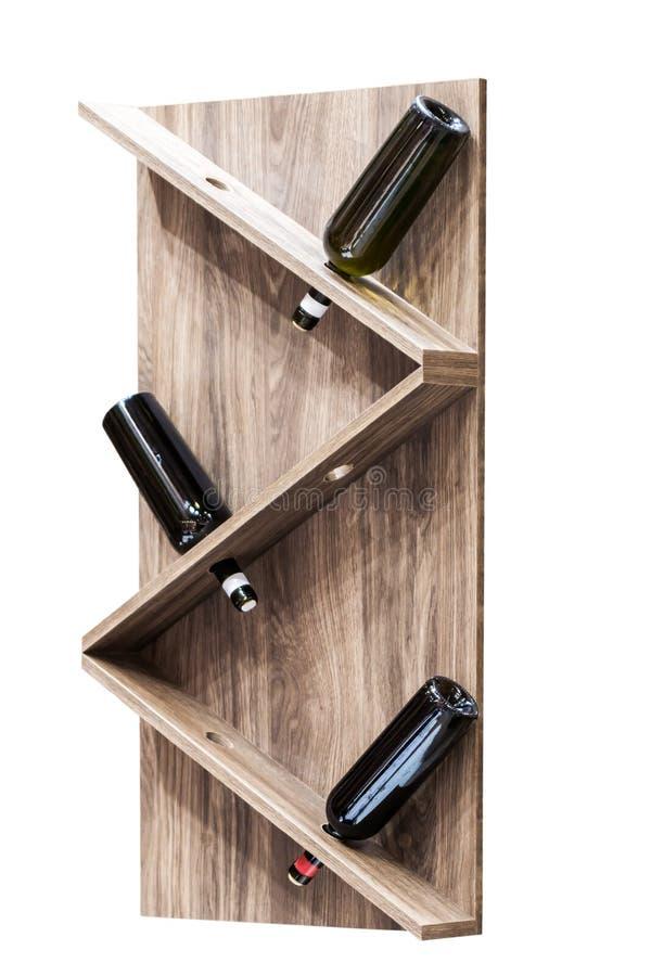 Flessen wijn op een houten geïsoleerde tribune royalty-vrije stock fotografie