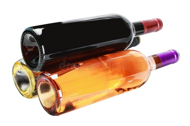 Flessen wijn van verschillende soorten stock foto's