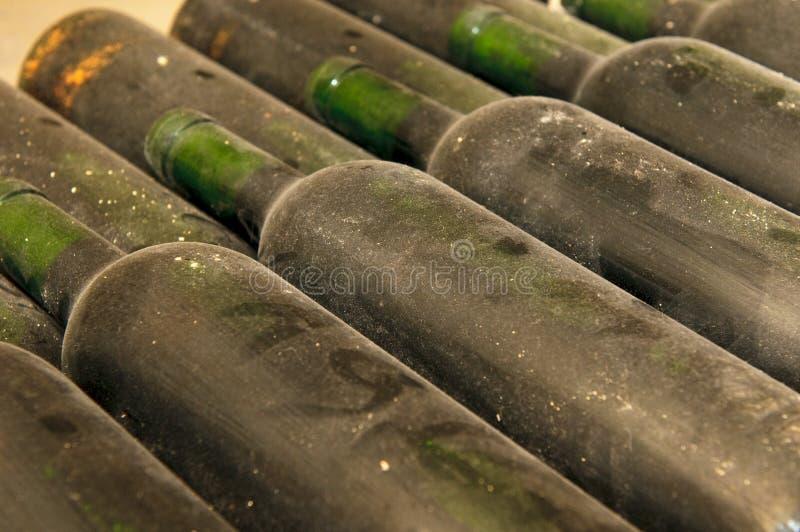 Flessen in wijnkelder royalty-vrije stock foto
