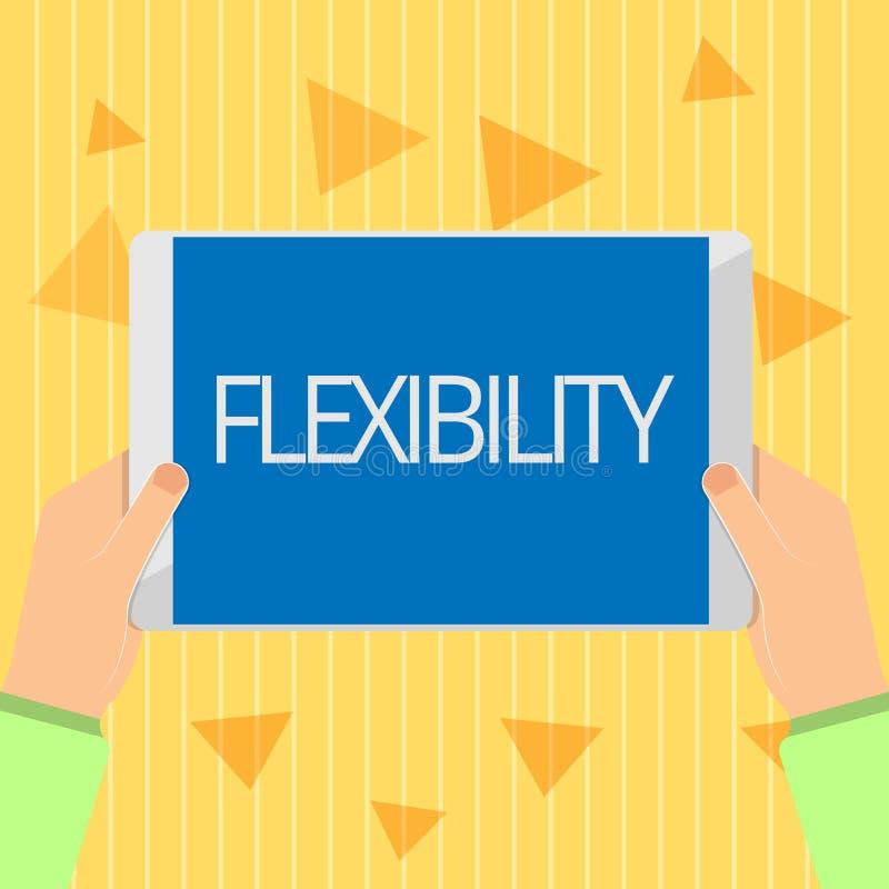Flessibilità del testo della scrittura Qualità di significato di concetto di piegamento modificata facilmente senza rompere allun illustrazione vettoriale