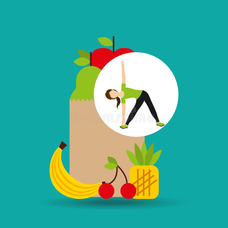 Flessibilità della donna che esercita la borsa sana dell'alimento illustrazione di stock