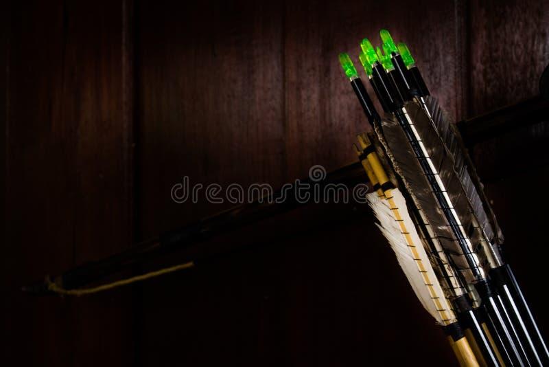 Fletchings стрелки в различном смычке wwith изменения стоковые изображения rf