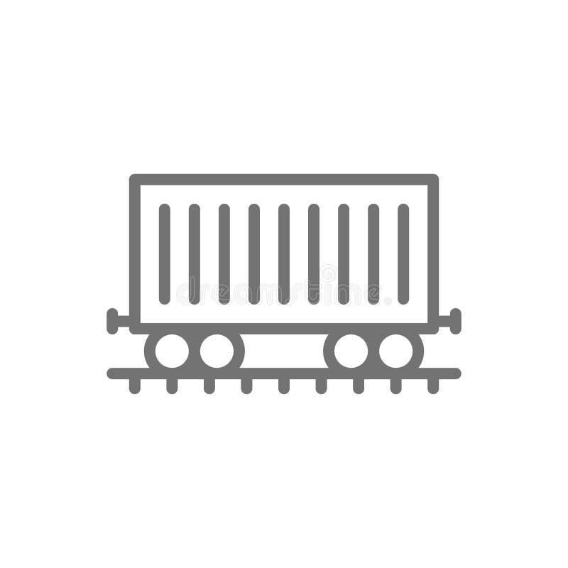 Flete el coche en los carriles, carro del cargo, línea icono del tren stock de ilustración