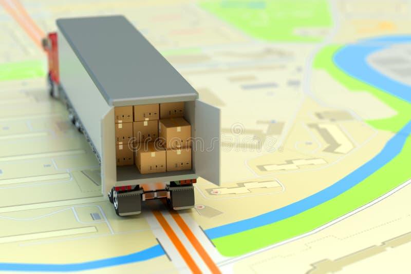Flete el transporte, el envío de los paquetes, el envío, la logística y el concepto del negocio stock de ilustración