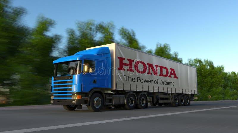 Flete semi el camión con el logotipo de Honda que conduce a lo largo del camino forestal Representación editorial 3D imagen de archivo