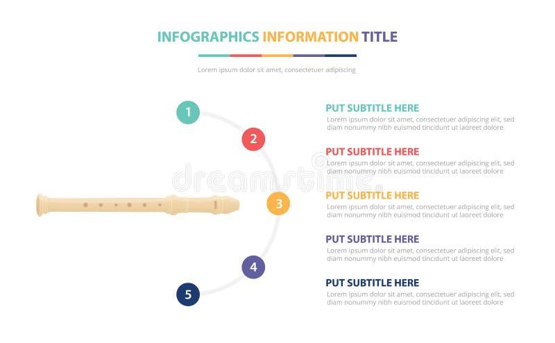 Fletowy plastikowy infographic szablonu pojęcie z pięć punktami spisuje i różnorodny kolor z czystym nowożytnym białym tłem - wek royalty ilustracja