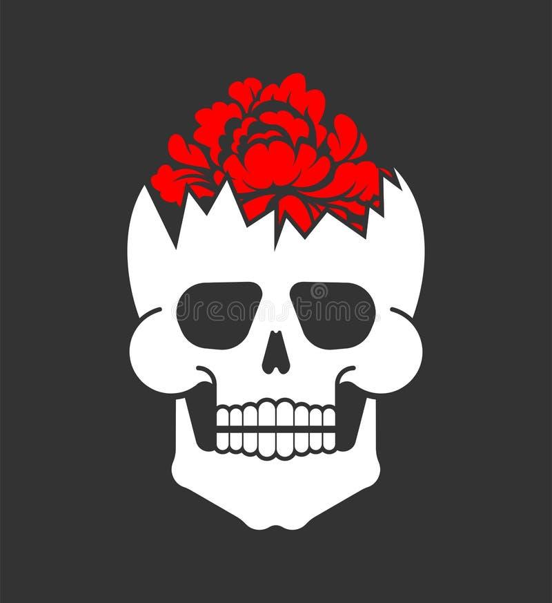 Fleur à l'intérieur de crâne Tête squelettique cassée Vecteur illustration stock