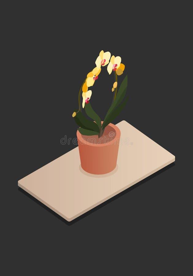 Fleur à la maison dans l'illustration-vektorgrafik isométrique de vecteur de concept de vecteur de pot illustration de vecteur