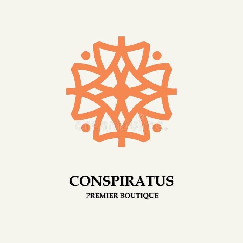Fleur abstraite élégante Calibre pour le logo, emblème, insigne, monogramme Illustration élégante de luxe de vecteur de conceptio illustration de vecteur