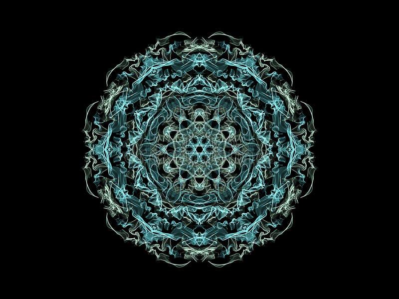 Fleur abstraite bleue et grise de mandala de flamme, modèle rond floral ornemental sur le fond noir Th?me de yoga illustration de vecteur