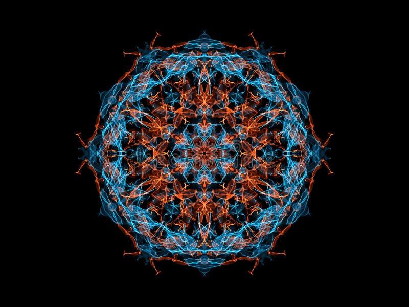 Fleur abstraite bleue et orange de mandala de flamme, modèle rond floral ornemental au néon sur le fond noir Th?me de yoga illustration de vecteur