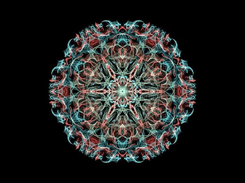 Fleur abstraite bleue et rose de mandala de flamme, modèle rond floral ornemental sur le fond noir Th?me de yoga illustration libre de droits