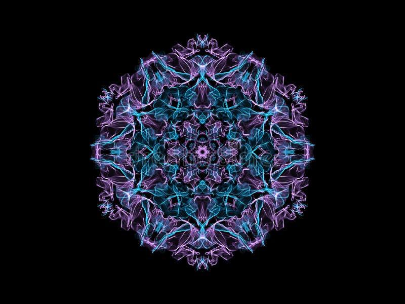 Fleur abstraite bleue et violette de mandala de flamme, modèle rond floral ornemental sur le fond noir Th?me de yoga illustration libre de droits