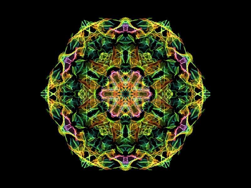 Fleur abstraite colorée de mandala de flamme, modèle hexagonal floral ornemental au néon sur le fond noir Th?me de yoga illustration de vecteur