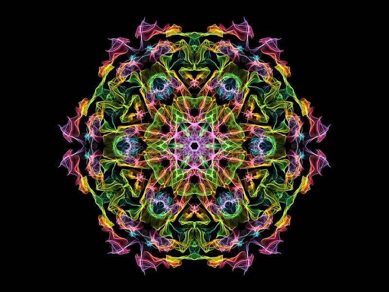 Fleur abstraite colorée de mandala de flamme, modèle hexagonal floral ornemental au néon sur le fond noir Th?me de yoga illustration libre de droits