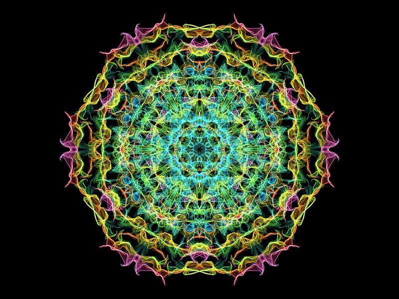 Fleur abstraite colorée de mandala de flamme, modèle hexagonal floral ornemental au néon sur le fond noir Th?me de yoga illustration stock