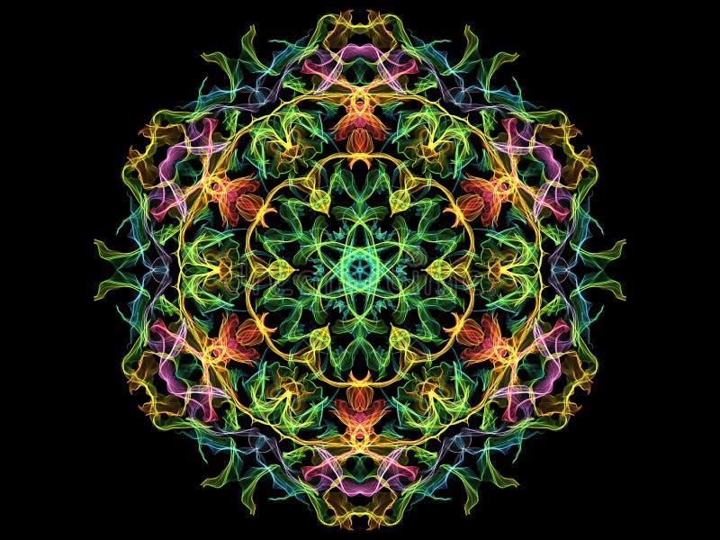 Fleur abstraite colorée de mandala de flamme, modèle rond floral ornemental au néon sur le fond noir Th?me de yoga illustration de vecteur