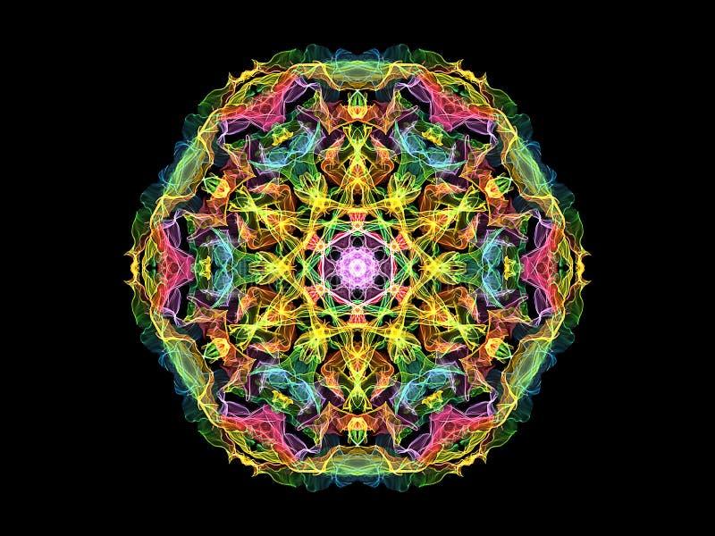 Fleur abstraite colorée de mandala de flamme, modèle rond floral ornemental au néon sur le fond noir Th?me de yoga illustration stock