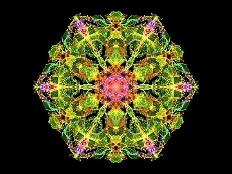 Fleur abstraite colorée de mandala de flamme, modèle rond floral ornemental au néon sur le fond noir Th?me de yoga illustration libre de droits
