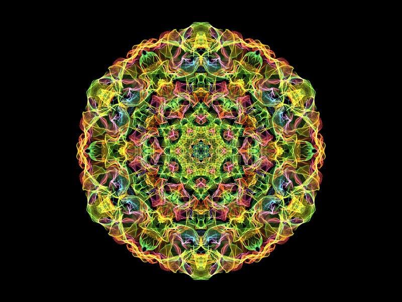 Fleur abstraite color?e de mandala de flamme, mod?le rond floral ornemental sur le fond noir Th?me de yoga illustration libre de droits