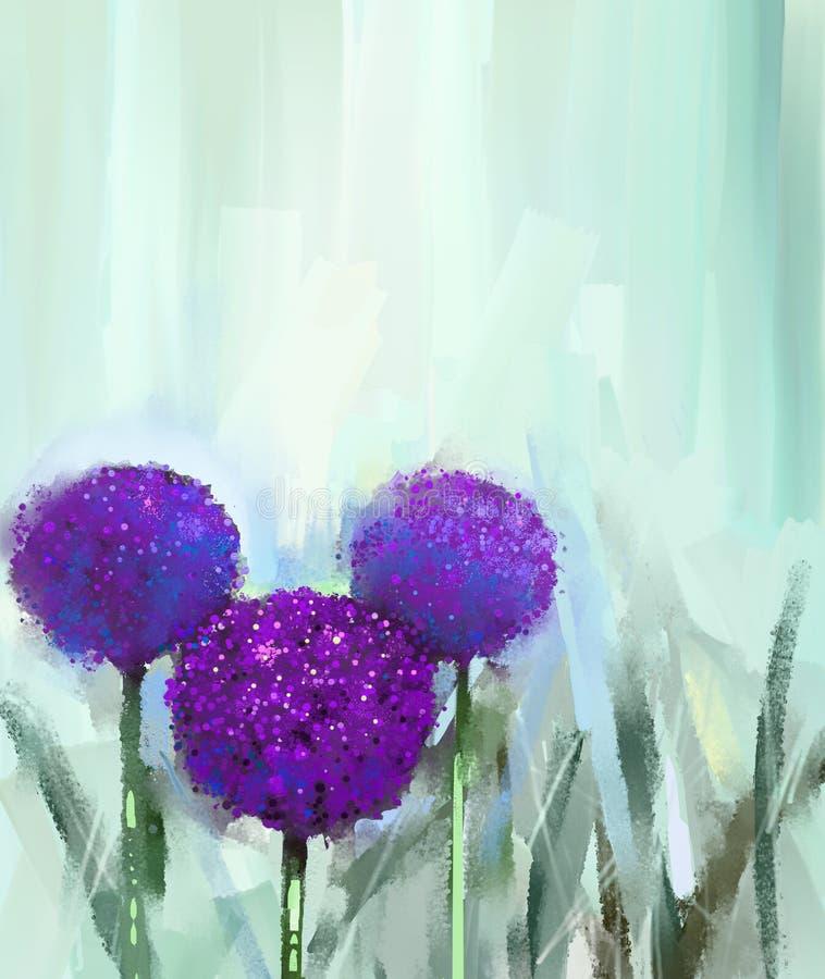 Fleur abstraite d'oignon pourpre fleuve de peinture à l'huile d'horizontal de forêt illustration stock