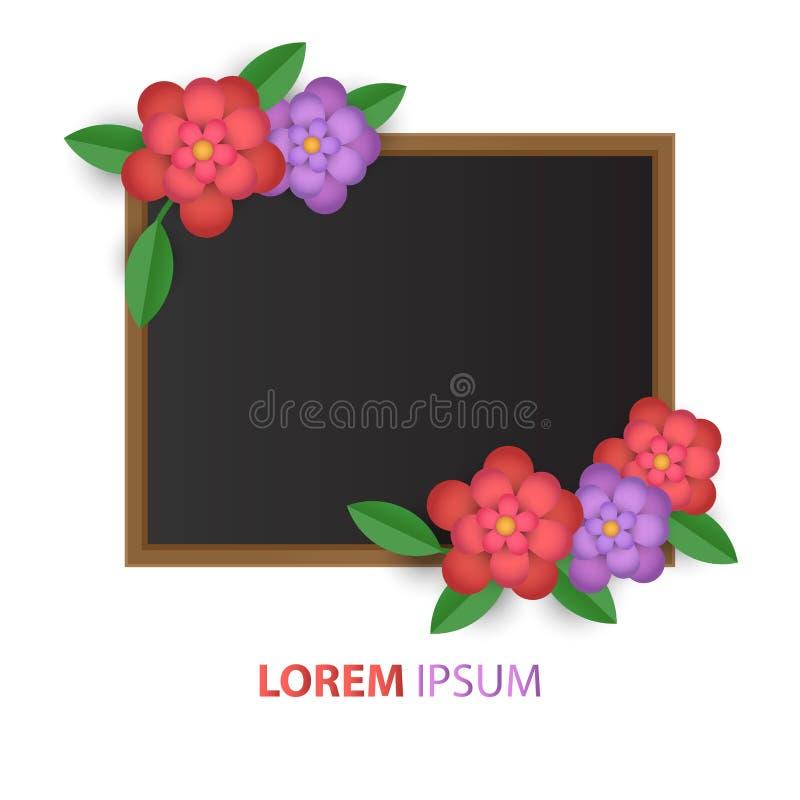 Fleur abstraite de carte postale avec le conseil d'isolement sur le fond blanc, fleurs de papier Illustration pour le texte de pr illustration libre de droits