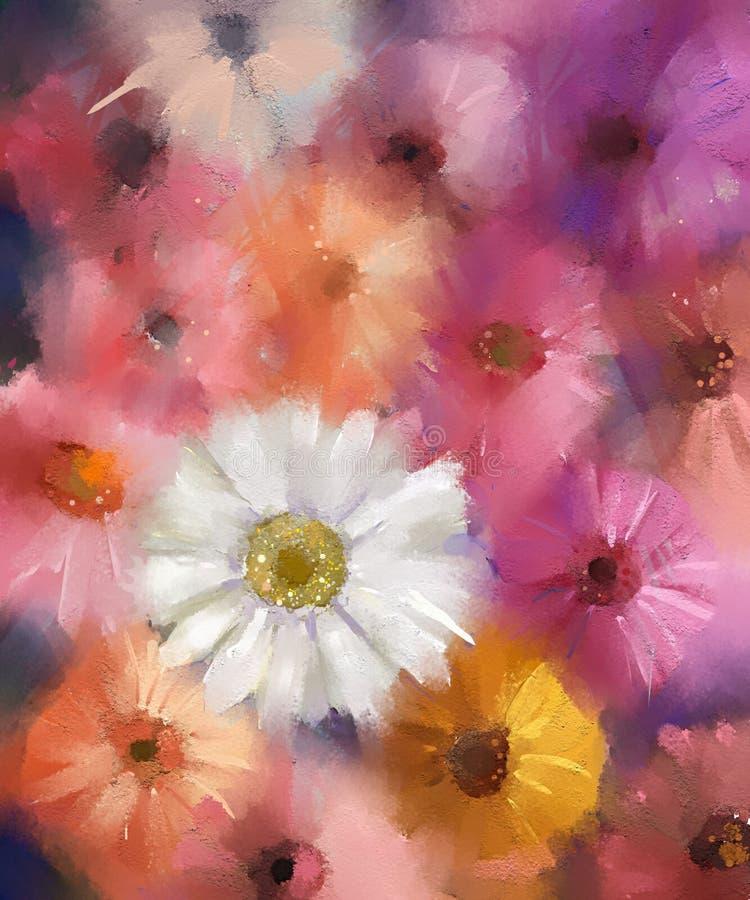 Fleur abstraite de Gerbera fleuve de peinture à l'huile d'horizontal de forêt illustration libre de droits