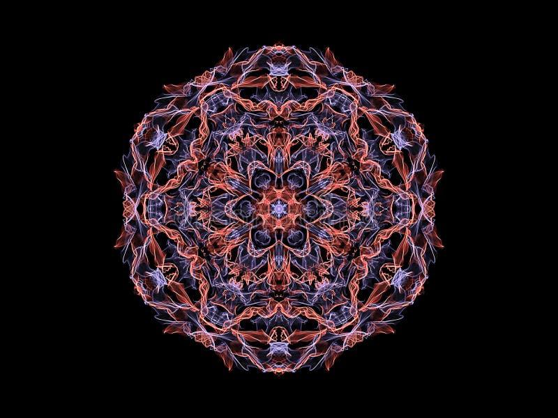Fleur abstraite de rose et violette de flamme de mandala, modèle rond floral ornemental sur le fond noir Th?me de yoga illustration de vecteur