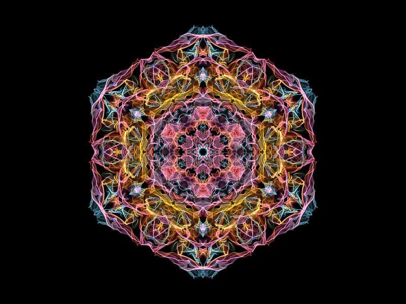 Fleur abstraite de rose, jaune et bleue de flamme de mandala, modèle hexagonal floral ornemental sur le fond noir Th?me de yoga illustration de vecteur
