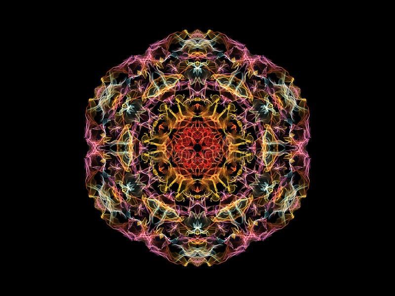 Fleur abstraite de rose, jaune, rouge et bleue de flamme de mandala, modèle rond floral ornemental sur le fond noir Th?me de yoga illustration libre de droits