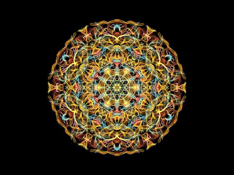 Fleur abstraite jaune, de corail et bleue de mandala de flamme, mod?le rond floral ornemental sur le fond noir Th?me de yoga illustration de vecteur