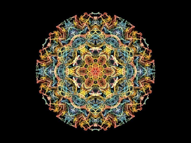 Fleur abstraite jaune, de corail et bleue de mandala de flamme, mod?le rond floral ornemental sur le fond noir Th?me de yoga illustration libre de droits