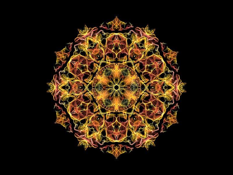 Fleur abstraite jaune et de corail de mandala de flamme, mod?le rond floral ornemental sur le fond noir Th?me de yoga illustration stock