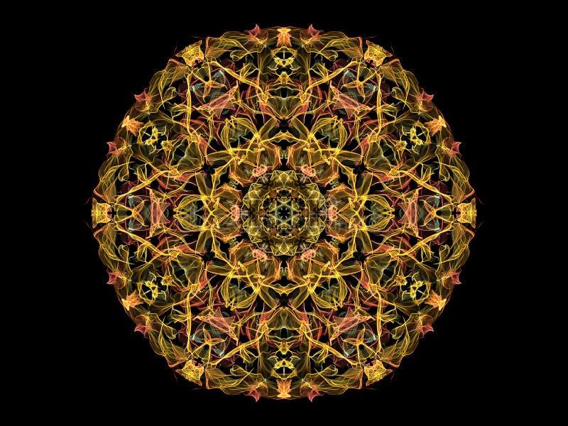 Fleur abstraite jaune et de corail de mandala de flamme, mod?le rond floral ornemental sur le fond noir Th?me de yoga illustration de vecteur