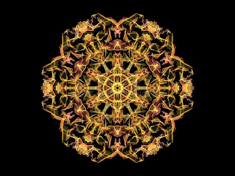Fleur abstraite jaune et de corail de mandala de flamme, mod?le rond floral ornemental sur le fond noir Th?me de yoga illustration libre de droits