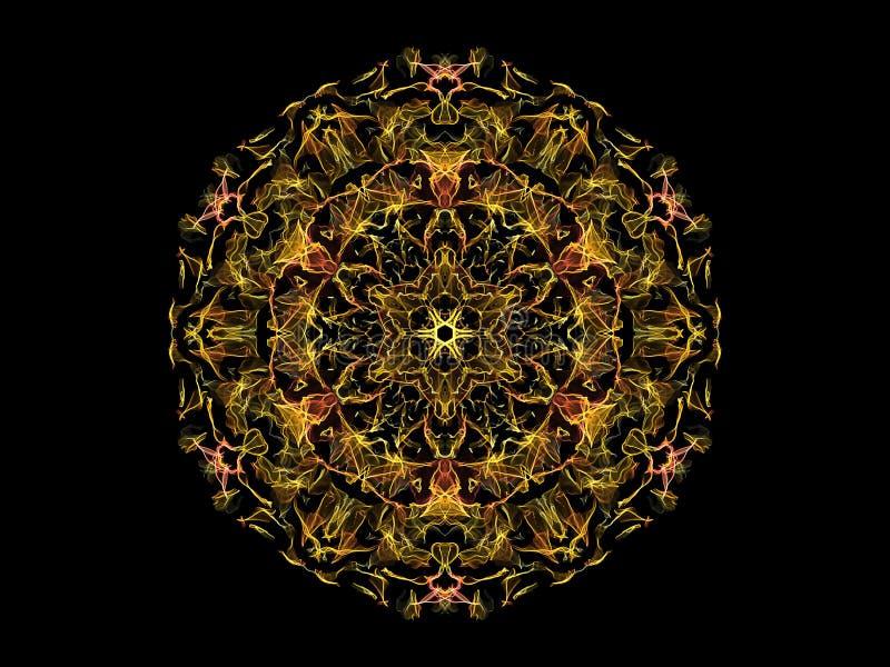 Fleur abstraite jaune et orange de mandala de flamme, modèle rond floral ornemental sur le fond noir Th?me de yoga illustration de vecteur