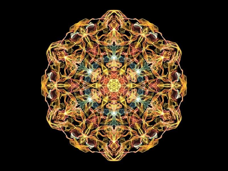 Fleur abstraite jaune, rouge et bleue de mandala de flamme, modèle rond floral ornemental sur le fond noir Thème de yoga illustration libre de droits