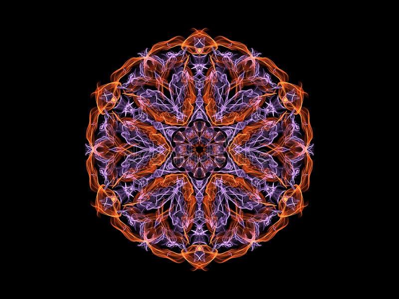Fleur abstraite orange et violette de mandala de flamme, modèle rond floral ornemental au néon sur le fond noir Th?me de yoga illustration libre de droits