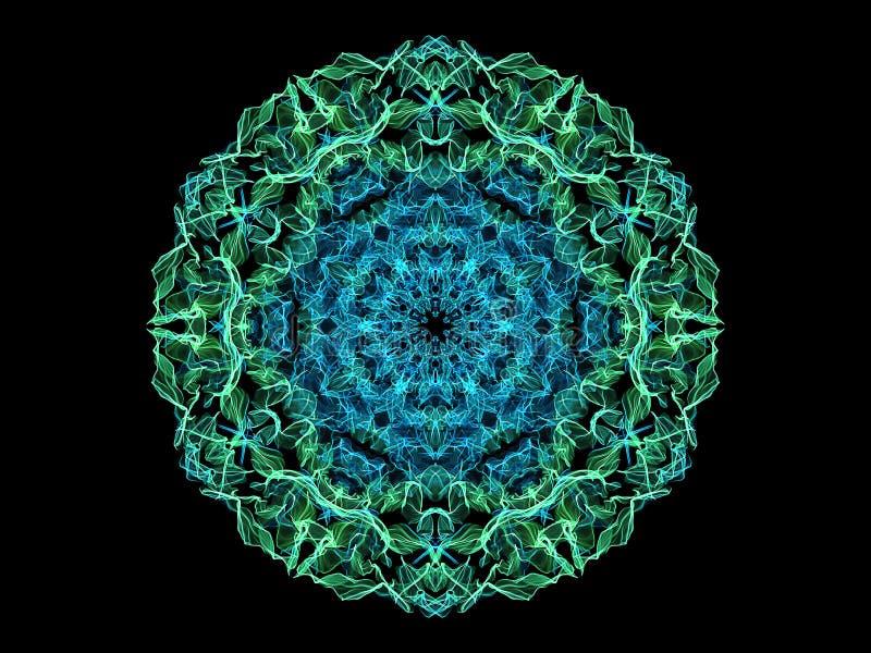Fleur abstraite verte et bleue de mandala de flamme, modèle rond floral ornemental au néon sur le fond noir Th?me de yoga illustration libre de droits