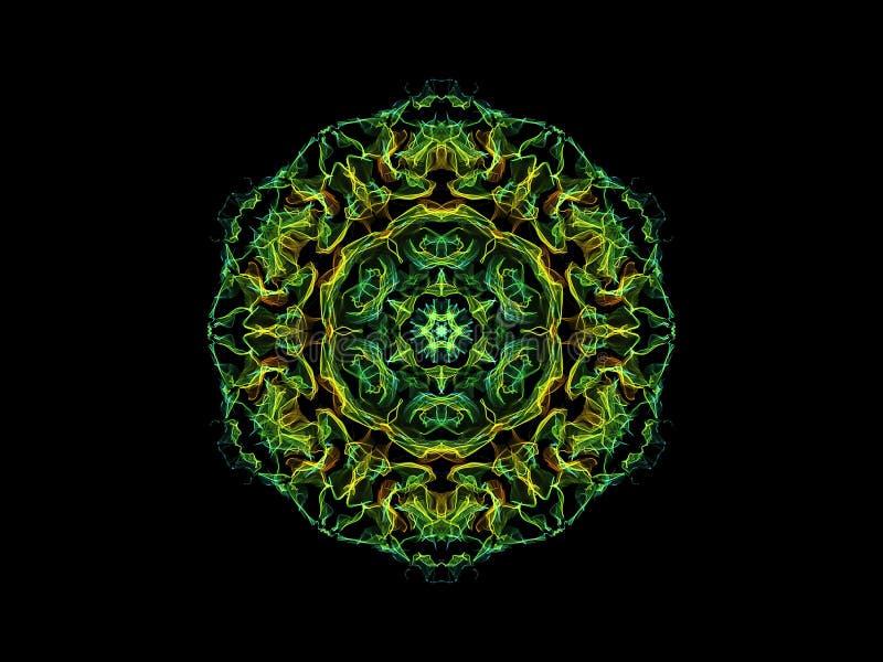 Fleur abstraite verte et jaune de mandala de flamme, mod?le rond floral ornemental sur le fond noir Th?me de yoga illustration libre de droits