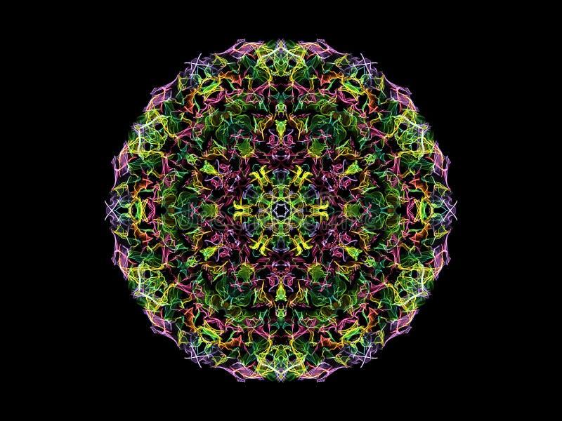 Fleur abstraite verte, jaune, rose et violette de mandala de flamme, modèle rond floral ornemental sur le fond noir Th?me de yoga illustration libre de droits