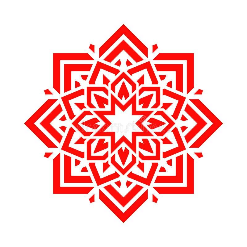 Fleur arabe dans la couleur rouge Conception florale de mandala de vecteur Symbole rond abstrait Élément décoratif oriental Idée  illustration libre de droits