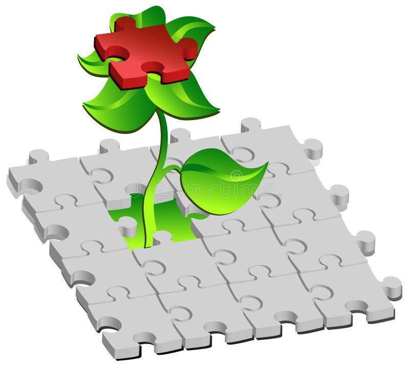Fleur avec des puzzles rouges illustration libre de droits