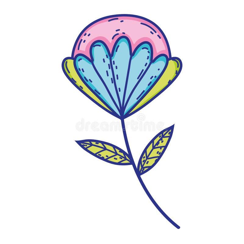 Fleur avec l'icône de feuilles illustration stock